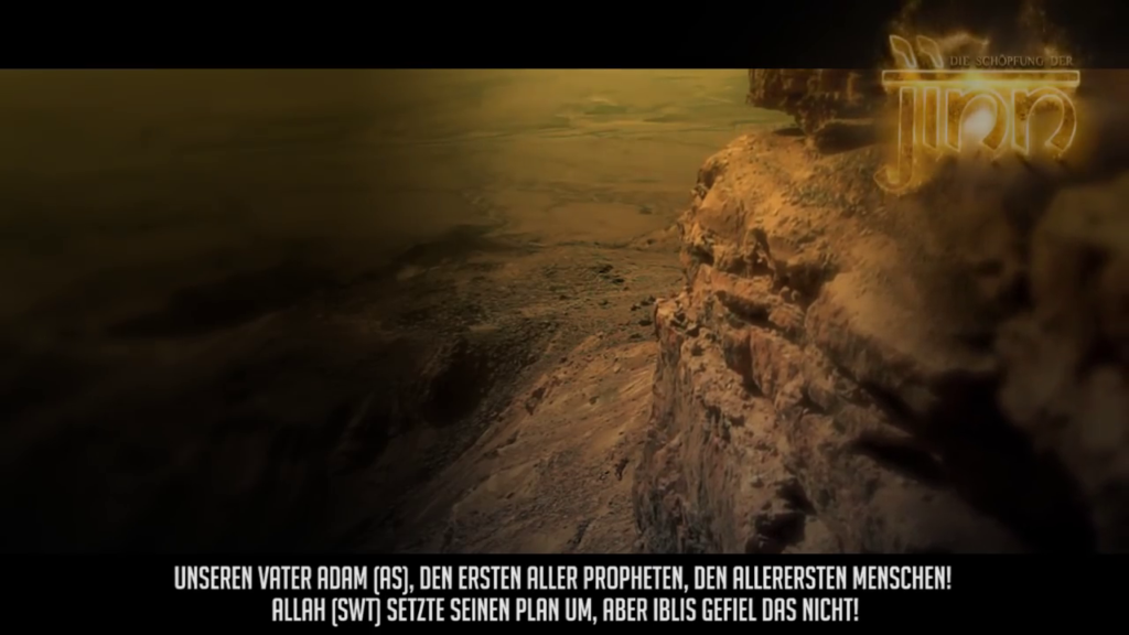 Botschaft des Islam, Rechte Bildhälfte Berg, links Dunkelheit, Untertitel